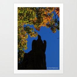 hawk statue with foliage Art Print