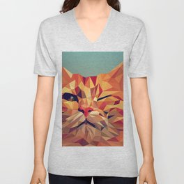 Geometric cat 2 Unisex V-Neck