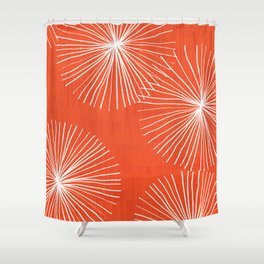 Dandelions in Red by Friztin Shower Curtain