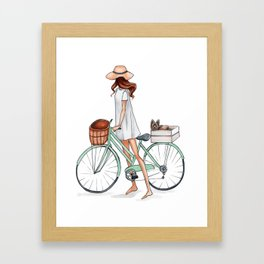 Fashionista with Bike and Dog Framed Art Print