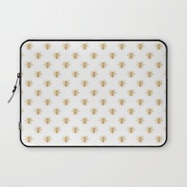 Gold Metallic Faux Foil Photo-Effect Bees on White Laptop Sleeve