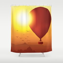 Fly Away on a Balloon Shower Curtain