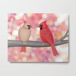 cardinals and sun-kissed bokeh Metal Print