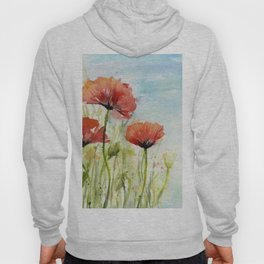 Red Flowers Watercolor Poppies Hoody
