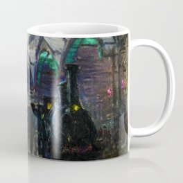 Paris-Saint-Lazare Railroad Station, Paris, France landscape painting by Claude Monet Coffee Mug