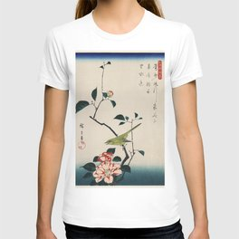 The ukiyo-e  Camellia and Nightingale by Utagawa Hiroshige also known as Ando Hiroshige (1797-1858) a traditional portrait of an adorable Japanese nightingale and an elegant camellia T-shirt