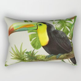 Toucans and Bromeliads (Canvas Background) Rectangular Pillow
