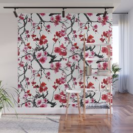 Vintage seamless pattern with watercolor flowers Wall Mural