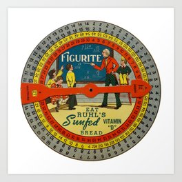The Figurite Wheel Clock Art Print