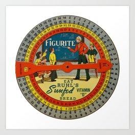 The Figurite Wheel Clock Art Print