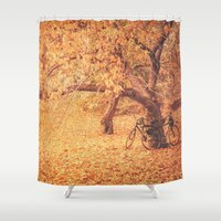 new york city Shower Curtains featuring Autumn - New York City by Vivienne Gucwa