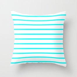 Horizontal Lines (Aqua Cyan/White) Throw Pillow