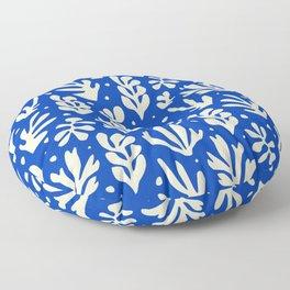 matisse pattern with leaves in blu Floor Pillow