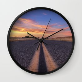 Follow the.... Millville Plains Road at sunset Wall Clock