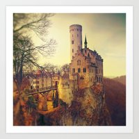 lichtenstein Art Prints featuring Lichtenstein castle by Renata Arpasova