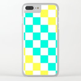 Cheerful Aqua & Yellow Checkerboard Pattern Clear iPhone Case