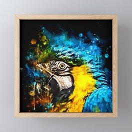 ara blue yellow macaw parrot bird portrait watercolor splatters Framed Mini Art Print