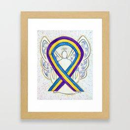 Bladder Cancer Awareness Ribbon Angel Art Painting Framed Art Print