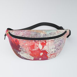 Tampa map Florida painting Fanny Pack