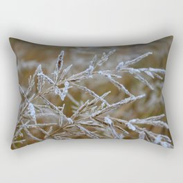 Ice frozen on plant branches in winters Rectangular Pillow