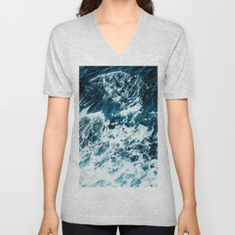 Disobedience - ocean waves painting texture Unisex V-Neck