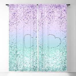 Sparkling MERMAID Girls Glitter Heart #1 #decor #art #society6 Blackout Curtain
