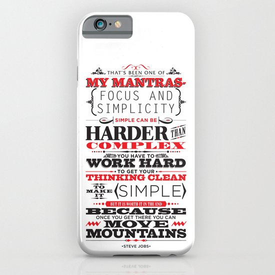 """Steve Jobs """"Focus and simplicity"""" quote print iPhone & iPod Case"""