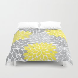 Yellow Gray Flower Burst Petals Floral Pattern Duvet Cover
