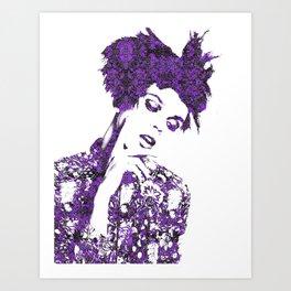 Purple Fashion Floral Art Print