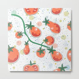 Dotted Background with colorful Tomatoes. Cartoon Design. Seamless Pattern Metal Print