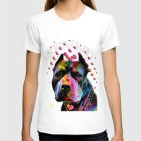 pitbull T-shirts featuring pitbull  by mark ashkenazi