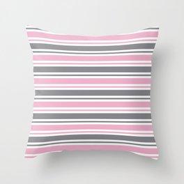Pastel Pink & Gray & White Stripe Pattern Throw Pillow