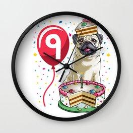 Pug Birthday Cake Balloon 9 Wall Clock