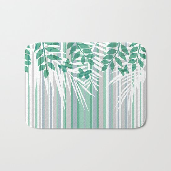 Multi-colored striped pattern with green tones . Bath Mat
