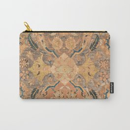 Persian Motif III // 17th Century Ornate Rose Gold Silver Royal Blue Yellow Flowery Accent Rug Patte Carry-All Pouch