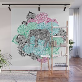 Boho paisley elephant handdrawn pastel floral Wall Mural