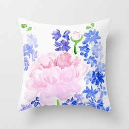 Peonies and Delphiniums Throw Pillow