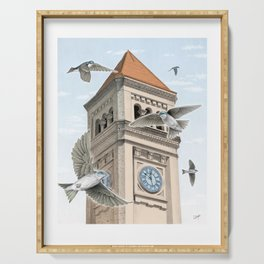 Clock Tower with Swallows Serving Tray