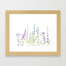 purple blue wild flowers watercolor painting Framed Art Print