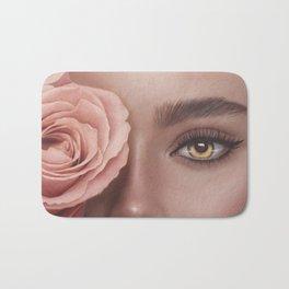 Woman portrait. Pink flowers. Big portrait. Yellow eyes. Fashion illustration. Digital painting Bath Mat