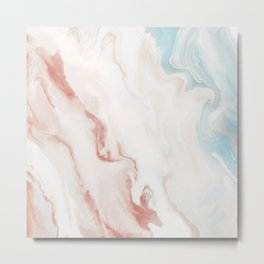 Summer Beach Day - a neutral abstract piece in light pinks and blues Metal Print