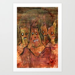 Zombies in a Red Dawn Apocalypse Art Print
