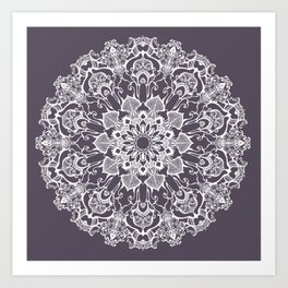 hand drawn white mandala on dark violet background Art Print