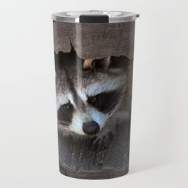 Hiding baby raccoon Travel Mug