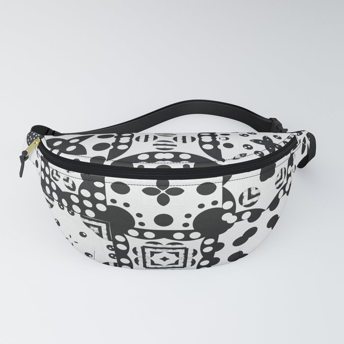Black & White Abstract Tile Pattern Fanny Pack
