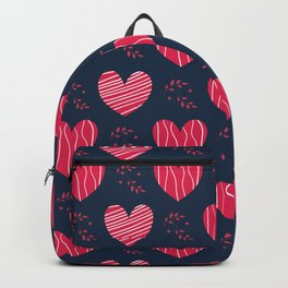 Arrangement of beautiful, hand-decorated hearts with a texture in a line. Backpack