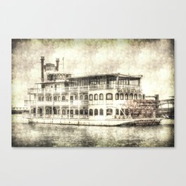 New Orleans Paddle Steamer Vintage Canvas Print