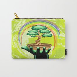 Bonsai Tree and Rainbow on Green Hand - Protecting Nature Carry-All Pouch