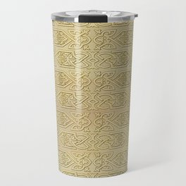 Golden Celtic Pattern on canvas texture Travel Mug
