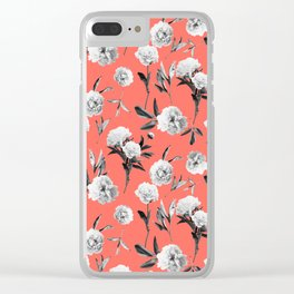 Peonies Mono Coral Clear iPhone Case